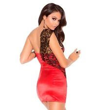 Sexy Red Dress Large L Women Black Lace Bodycon Satin Party Cocktail Holiday Hot