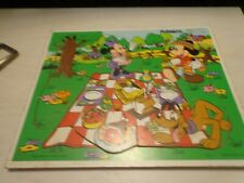 Vintage Playskool Walt Disney's Wooden Minnie, Mickey , and Pluto  Tray Puzzle