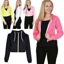 Womens Ladies Plain Cropped Hoodie Hooded Tops Sweatshirt Zip Up Jacket Jumper