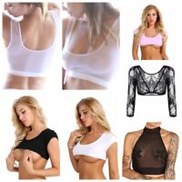 Women's Mesh See Through Vest Crop Top Ladies Shirt Party Bra Bustier Tank Tops