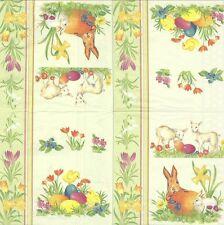 2 Serviettes en papier Pâques Oeufs Fleurs - Paper Napkins Easter time Green