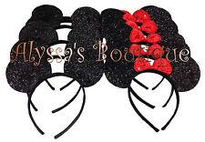 Minnie Mickey Mouse Ears Headbands 20 pcs Shiny Black Red Birthday Party Costume