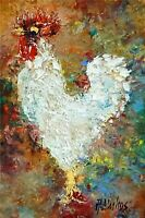 ANDRE DLUHOS ORIGINAL ART OIL PAINTING Chicken Rooster Farm Ranch Barn Animal