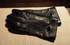Prada Mens Leather Gloves Black Cashmere Lining Size 8