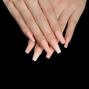 Matte Ombre medium Coffin Ballerina Nude peach Fake False Press On Nails