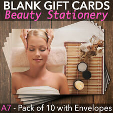 Gift Voucher Beauty Salon Blank Card Coupon Nail Massage A7 + Env. - Pack of 10