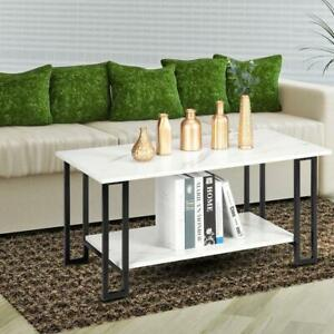 Modern Industrial Coffee Table Living Room Tea Cocktail Table with Metal Frame