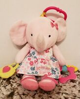 Carters Pink Elephant Plush Rattle Tether Baby Toy In Floral Dress Stuffed