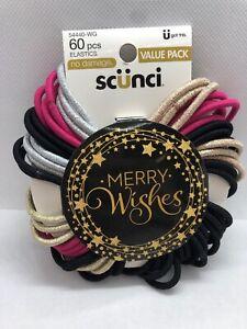 Conair Scunci Multi Colored Elastic Hair Ties, 60 Ct Black Pink Silver Gold