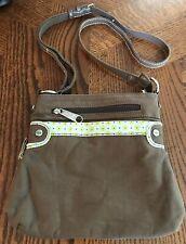 Thirty One Pop Crossbody Brown Purse Expanding Cotton Twill Handbag Zip Closure