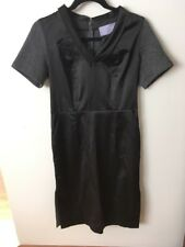 Vera Wang: Lavender Label Black & Gray Satin Front/Knit Back Dress, Size 6