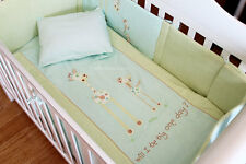 6 Piece Baby Nursery Embroidered Cot Bedding Set Baby Giraffe Blue
