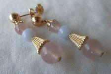 Estate 14K Yellow Gold Pink Quartz Chalcedony Drop Earrings - 4.8 grms, 1 1/4 in