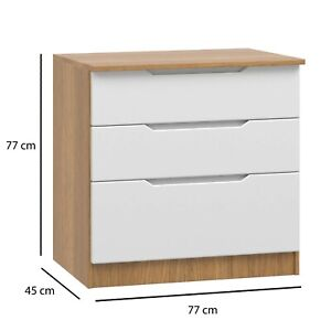 Ready Assembled Quality Tall Wide Chest Drawers Draws White Gloss & Oak Carcass