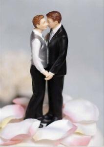 """Romance"" Gay Two Grooms Tuxedo True Real Love Wedding Cake Topper Figurine NEW"