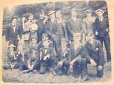 CYANOTYPE RPPC GROUP OF WELL DRESSED BOYS W/ HATS UBD c 1907 REAL PHOTO POSTCARD