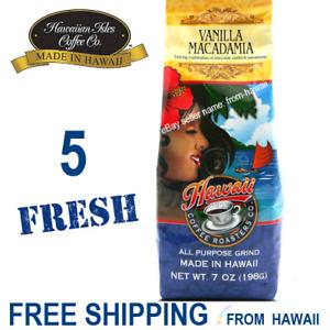 VANILLA MACADAMIA Hawaii Coffee Roasters Co 5 Bag 7oz Ground by Hawaiian Isles
