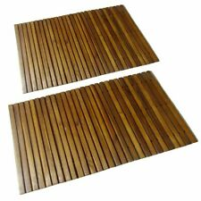 "vidaXL 2x Acacia Hardwood Bath Mat 31.5""x19.7"" Accent Bathroom Rugs Shower"