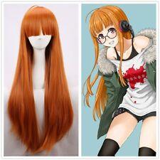 Game Persona 5 Futaba Sakura Long Straight Orange Cosplay Full Wig +a wig cap