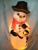 Light Up Plastic Snowman With Penguin Friend Christmas Decor Union Products