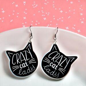 Crazy Cat Lady Cat Kitten Dangle Fun Earrings/ Quirky/ Novelty