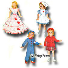 """Vintage Shirley Temple Doll Clothes Dress Pattern ~ 13"""" 14"""" Patsy, Composition"""