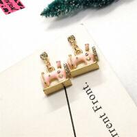 Hot Pink Enamel Sewing Machine Crystal Betsey Johnson Women Stand Earrings
