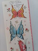 UNUSED Vtg Rust Craft BUTTERFLIES Mother's Day GREETING CARD w Envelope