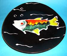 "Art Pottery - Decorative Hand Painted Raised Pattern ""Fish Design"" Plate."