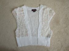 SS SWEATER - Bolero - XOXO - White Sequins - Girls Medium