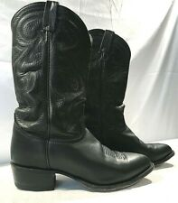 Tony Lama Mens Leather Cowboy Boots Pointed Toe Black Size 9