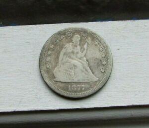 Nice 1877-S ~  Seated Liberty Quarter 25c ~ Fine +
