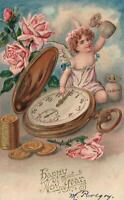 1907 VINTAGE EMBOSSED FAIRY CHERUB with GOLD FOB WATCH, ROSES & COINS POSTCARD
