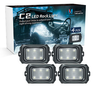 MICTUNING C2 LED Rock Light Pure White 4 Pods IP68 Underglow Glow Offroad  Lamp