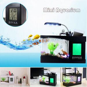 Mini USB Fish Tank 24x10x19cm Desktop Aquarium Colorful LED Light Calendar Clock