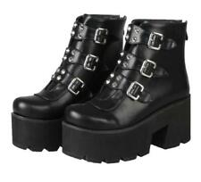 Women Chunky High Heels Platform buckle Punk Gothic Ankle Boots shoes US Size 13