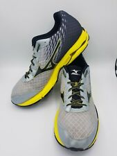 Mizuno Wave Rider 19 Men's Size 14 Gray Yellow Athletic Sneaker Running Shoes