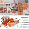 10 Piece Copper Induction Nonstick Set Chef Steamer Skillet Sauce Pan NEW IN BOX