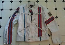 DIESEL HOJE LEATHER CAFE RACER MOTORCYCLE JACKET L worn by DRAKE & JOSH * BIKER