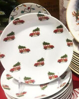 Pottery Barn Set 4 Woody Car Appetizer Plates Dessert Red Christmas Tree Salad