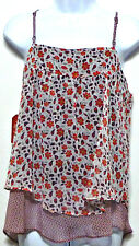 New + Tags! Faded Glory Ladies Burgundy & Red Floral Chiffon Shirt Sz L (12-14)