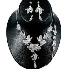 Flower Rhinestone with Mesh Leaf Necklace,Bracelet & Earring set Wedding