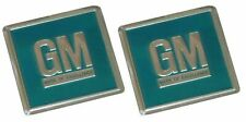 64-68 GM Embossed Metal Door Jamb Adhesive Decal Badge Foil Sticker Turquoise x2