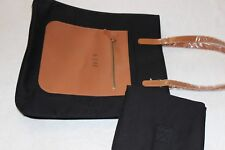 "Pottery Barn Black Cotton Leather Diaper / Regular Tote Bag NWOT Free Ship ""AJH"""