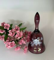 Fenton Small Purple Diamond Optic Flowers Hand Painted Bell signed by Artist