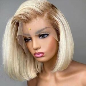 8A 180 Unprocessed Brazillian Ombre 4/613 Blonde Bob LaceFront Human Hair Wig