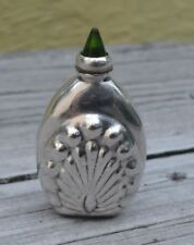 VTG MEXICO STERLING SILVER SNUFF - PERFUME BOTTLE WITH GREEN CRYSTAL TIP DABBER