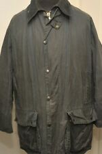 "VINTAGE BARBOUR BORDER A205 WAX COTTON JACKET 44"" / 112CM BLUE LARGE"