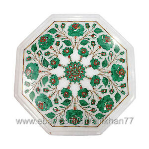 Marble Inlay Sofa Side Table Octagonal Bedside Table Pietra Dura Table
