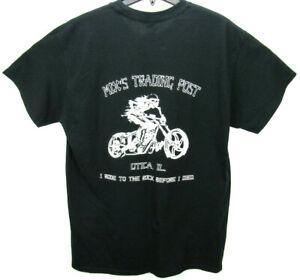 Skeleton Motorcycle Print Men's Size Large T Shirt Black